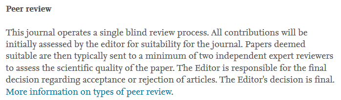 This journal operates a single blind review process.