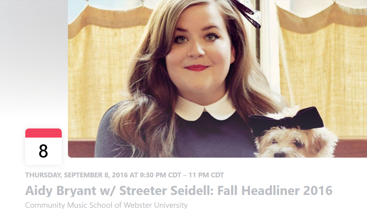 Aidy Bryant Webster University campus event September 8, 2016