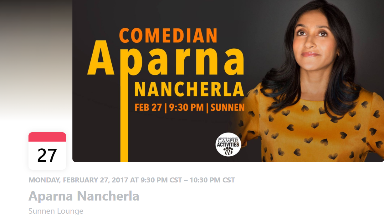 Aparna Nancherla Webster University campus event February 27, 2017