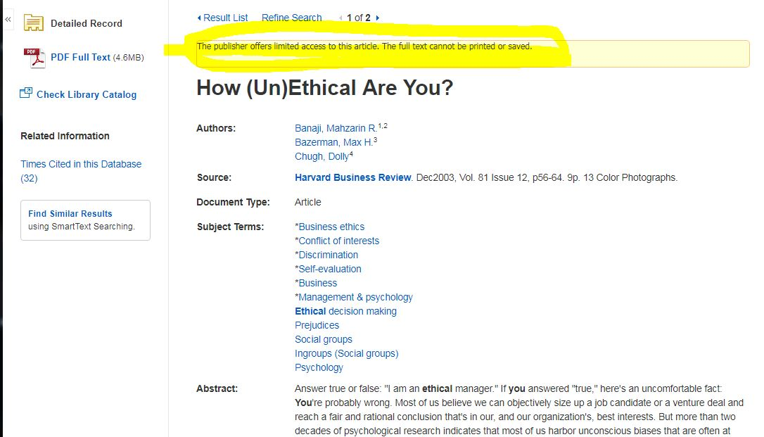 A read-only notice on a Harvard Business Review article