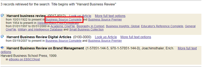 Harvard business review Business Source Complete link