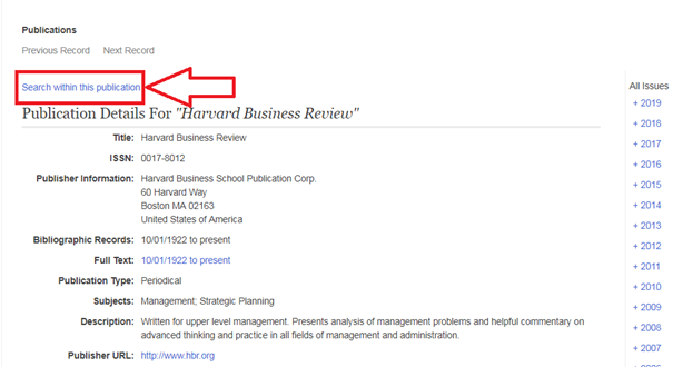Harvard business review search within this publication location