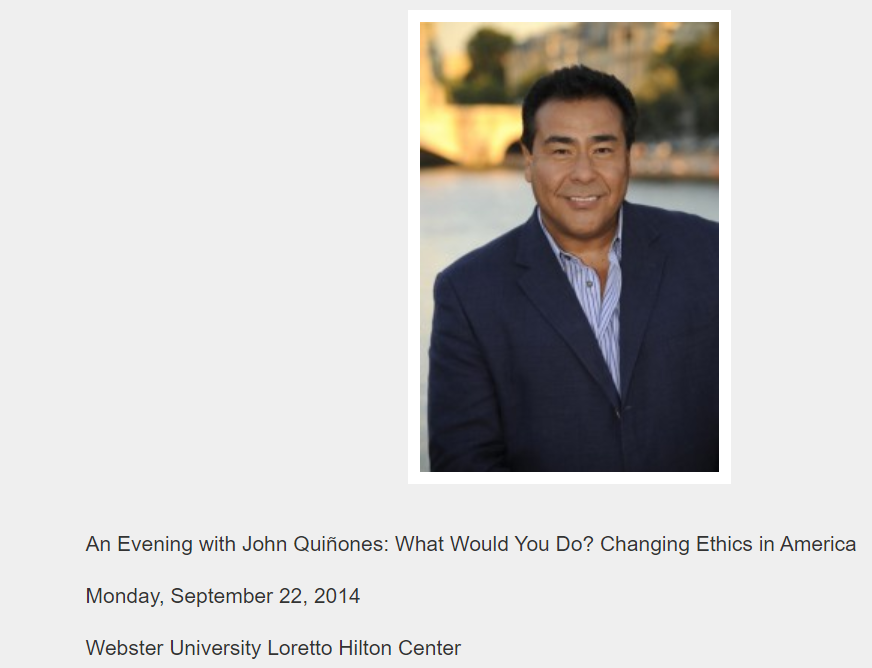 An Evening with John Quiñones on Semptember 22, 2014
