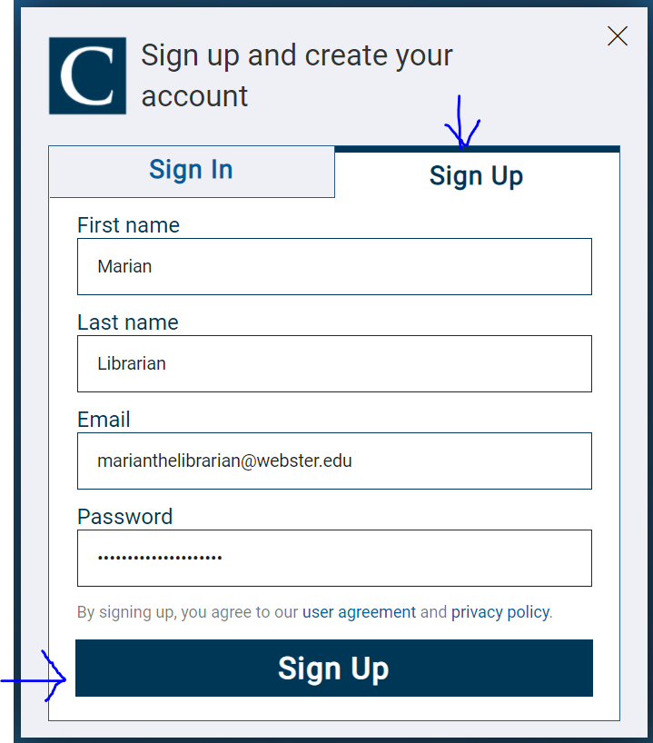 Sign up information of The Chronicle of Higher Education
