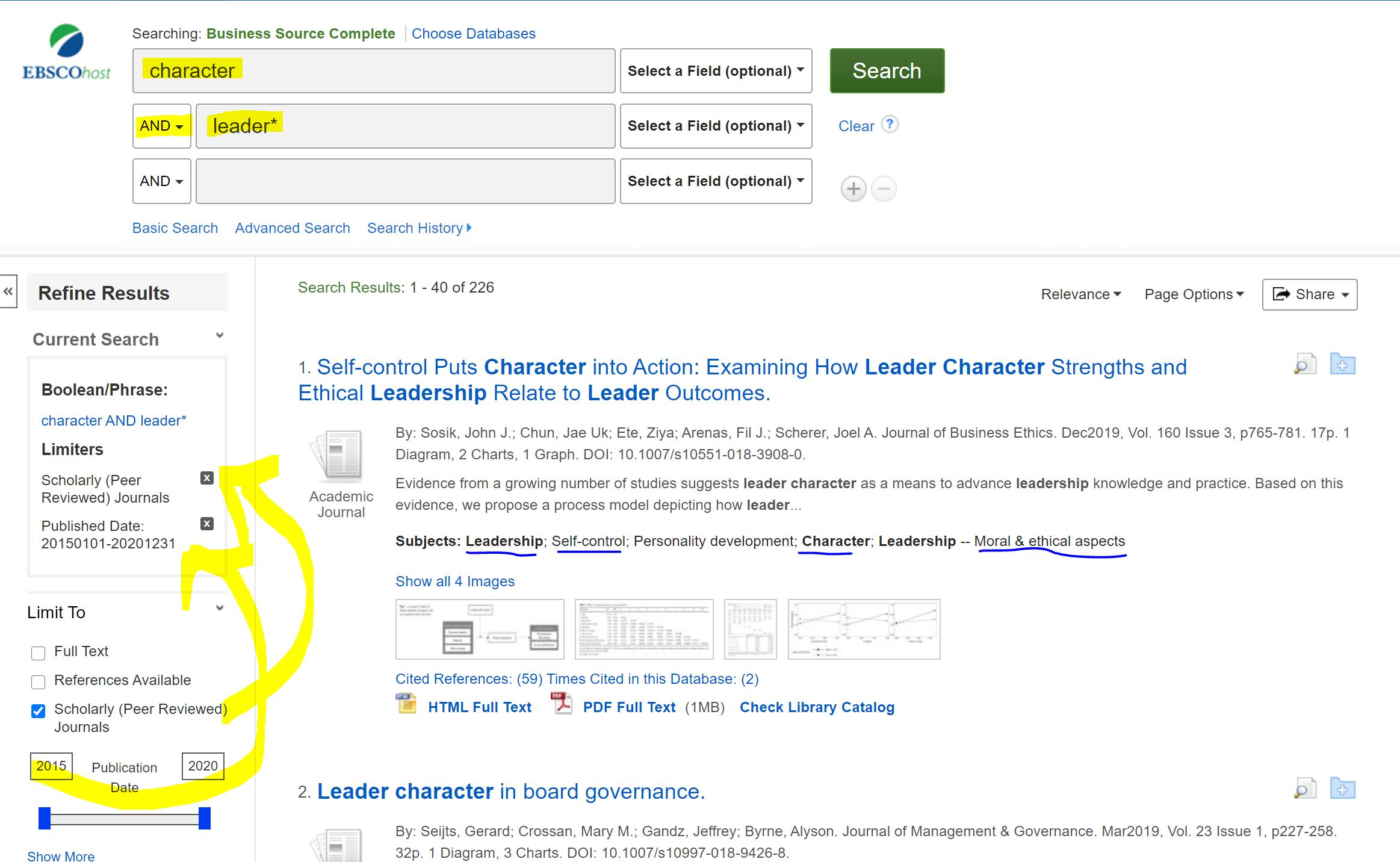Business Source Complete search for character AND leader