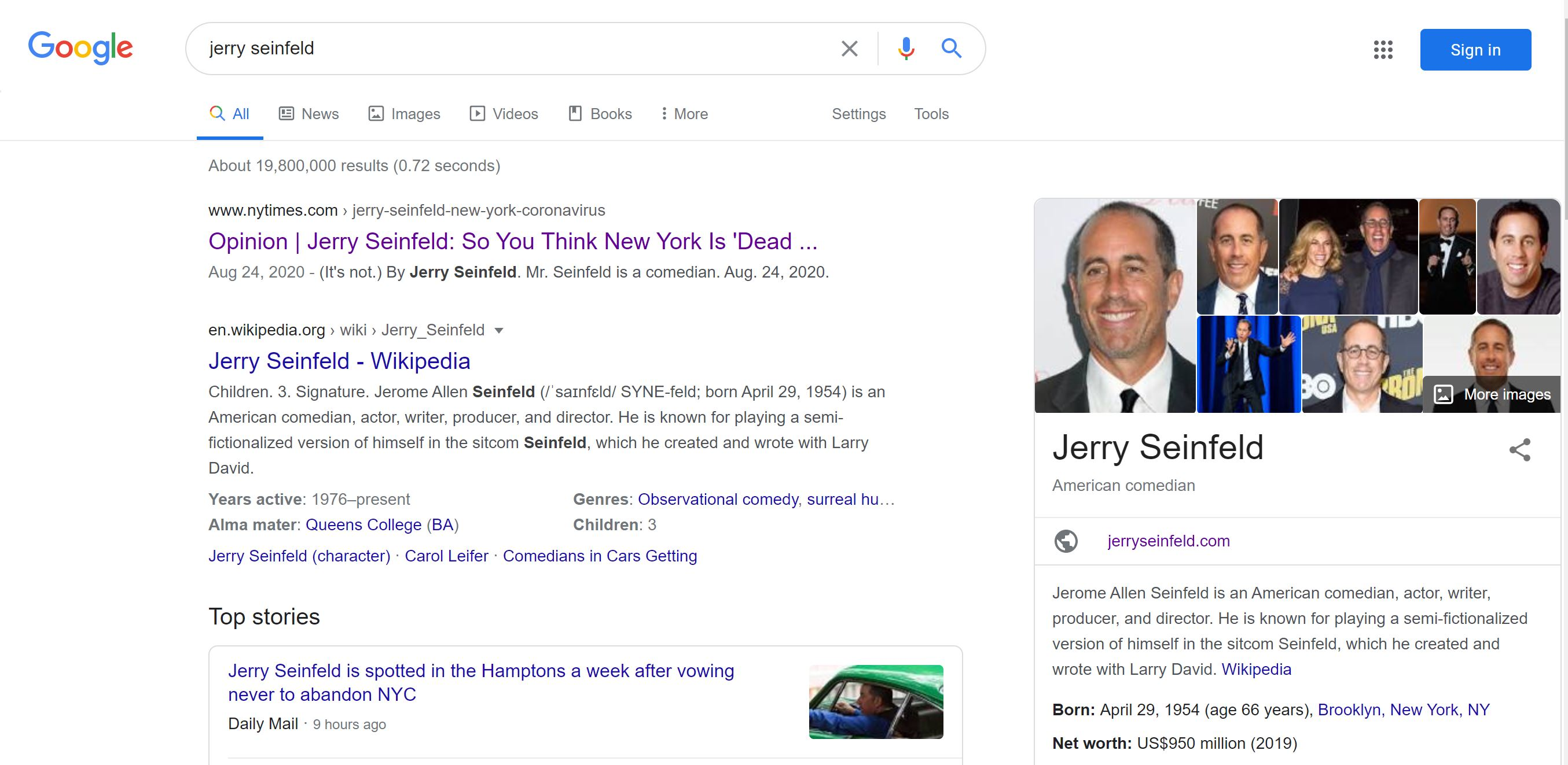 Google search results for Jerry Seinfeld
