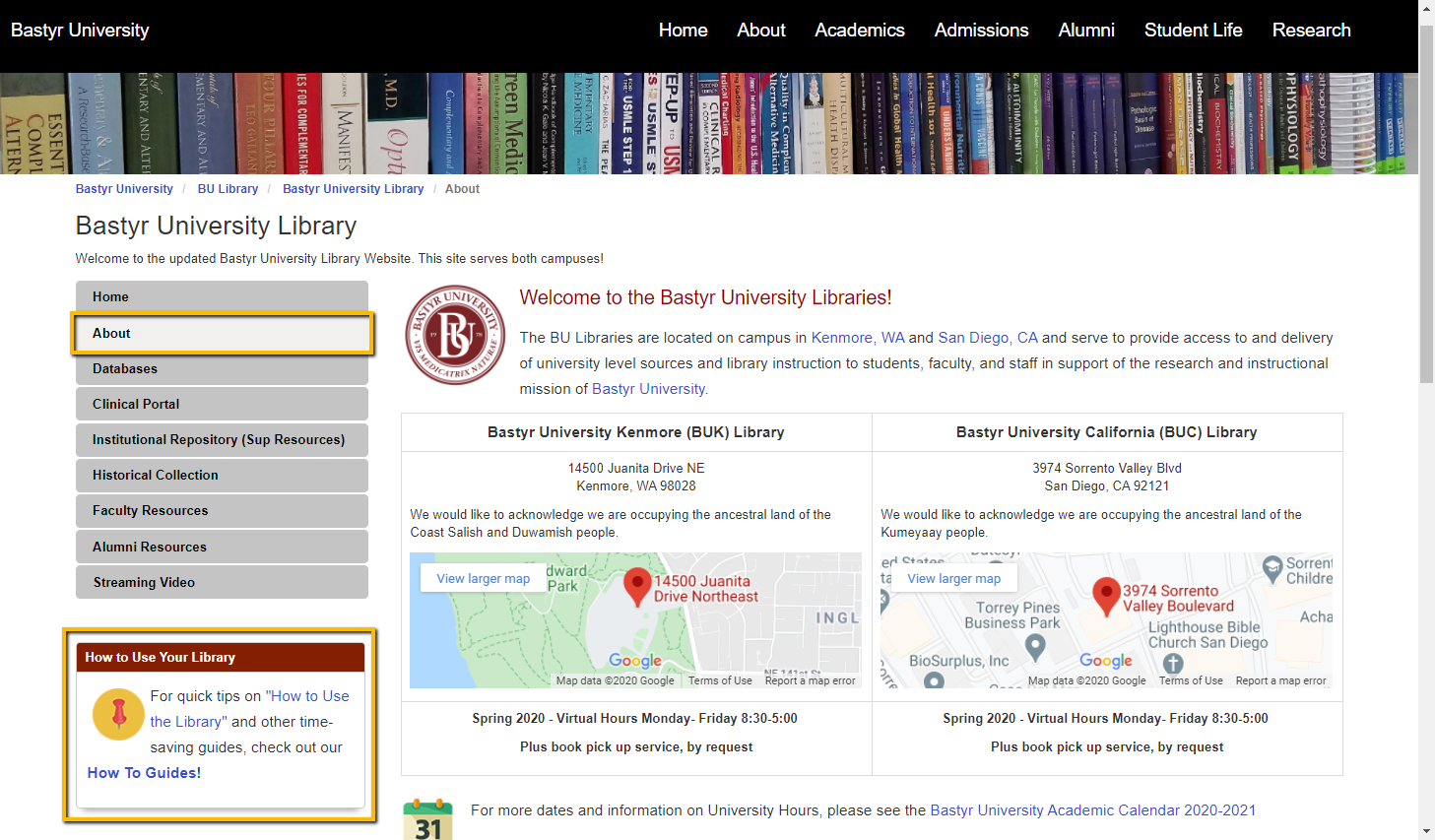 About the Library Page Screenshot