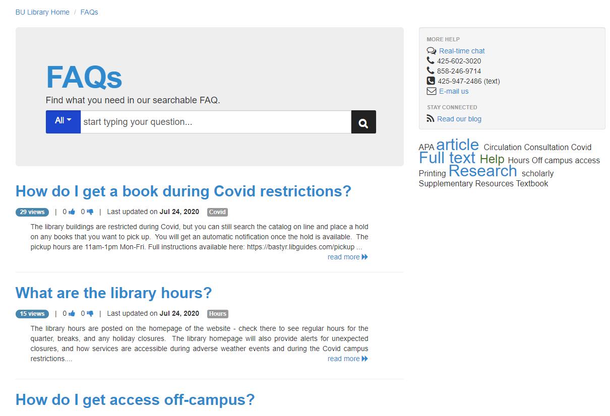 FAQ Page Screenshot