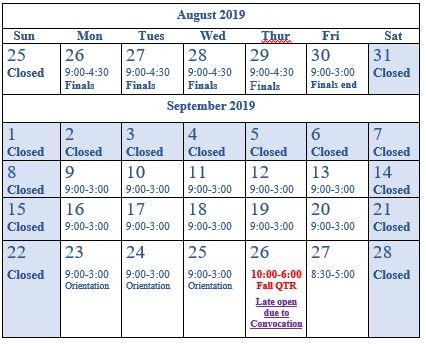 september break hours