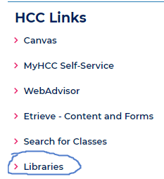 Libraries link in MyHCC