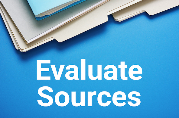 'Evaluate Sources.' Stack of folders.