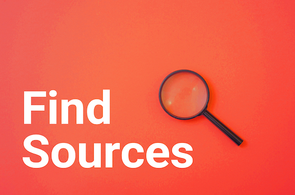 'Find Sources.' Magnifying glass.