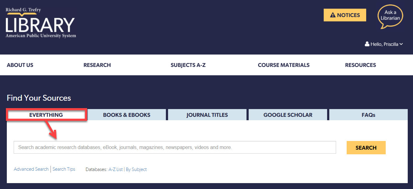 Primo (Everything) search box on the APUS Library Homepage