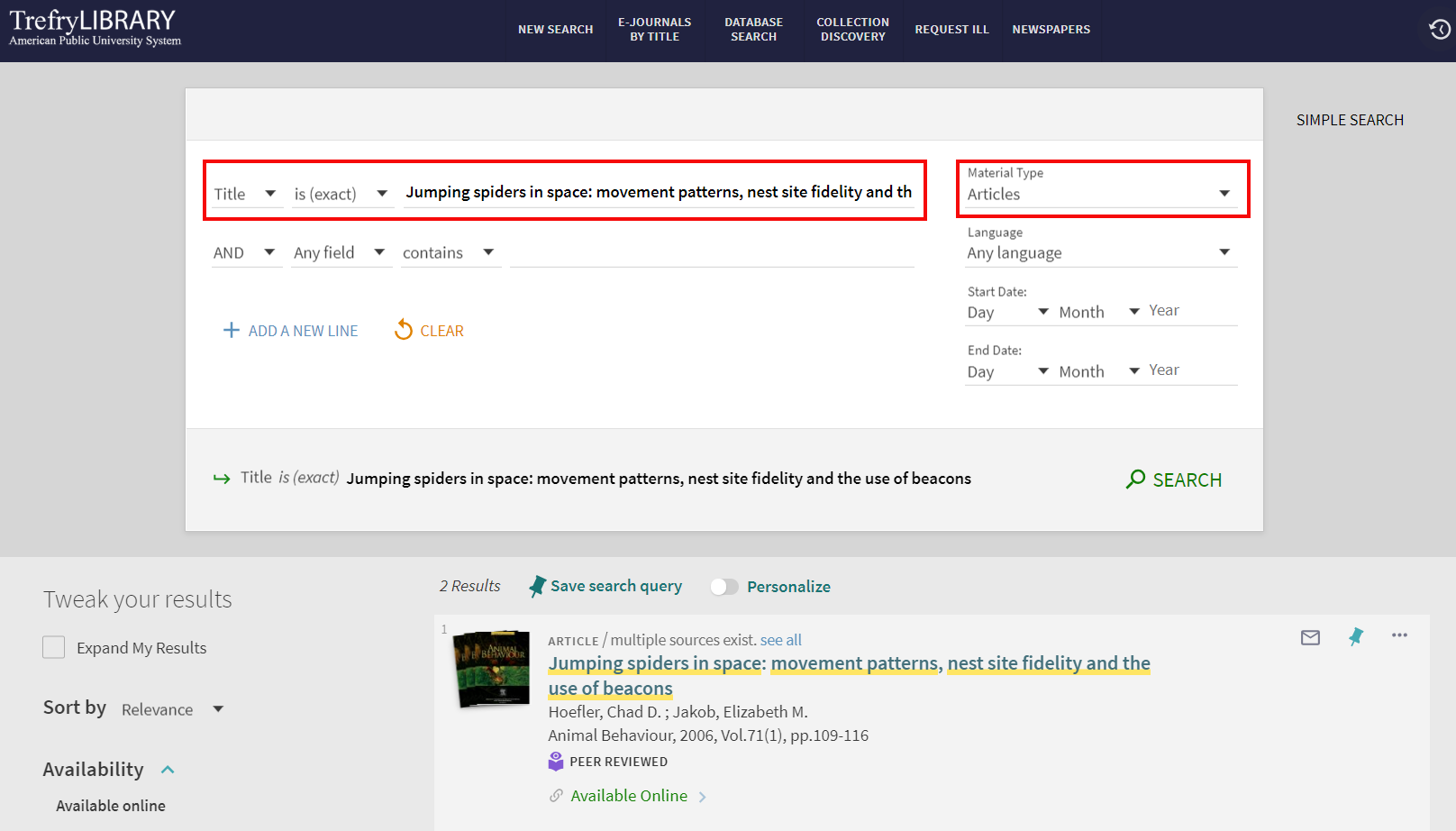 Search for an article by title in Primo