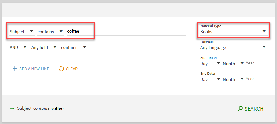 Subject search in Primo