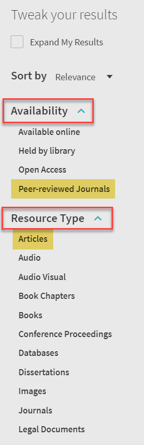 Article filter in Primo