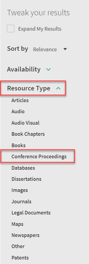 conference proceedings filter