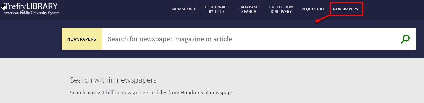 Newspaper search in Primo