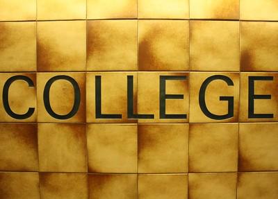 college written on tiles