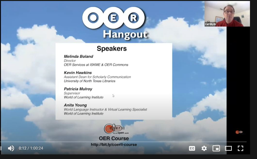 COERLL OER Hangout: OER for Languages