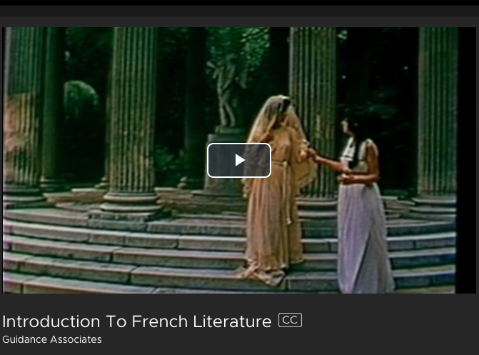 Introduction to French Literature- Kanopy Streaming Media