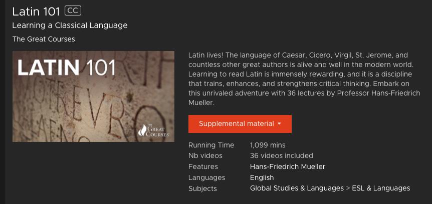 Latin 101- Kanopy Streaming Media