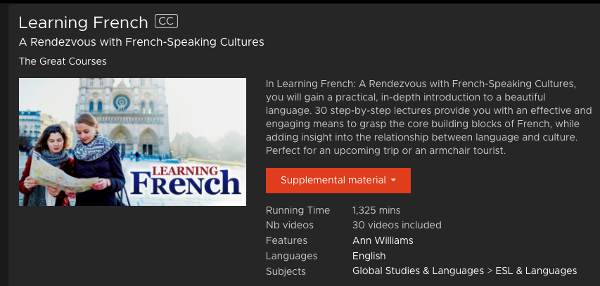Learning French- Kanopy Streaming Media