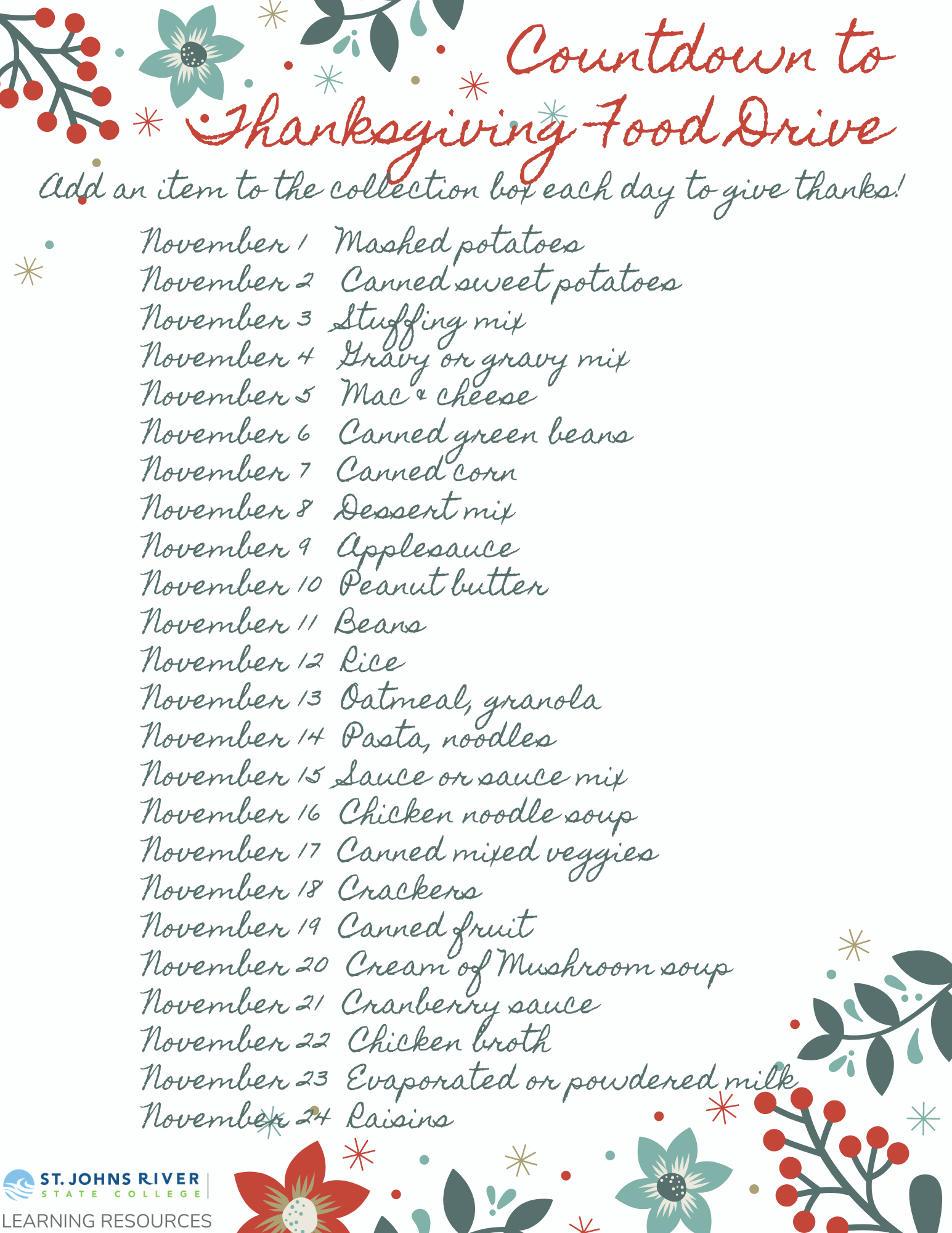 Food list - a pdf of this list is provided after a