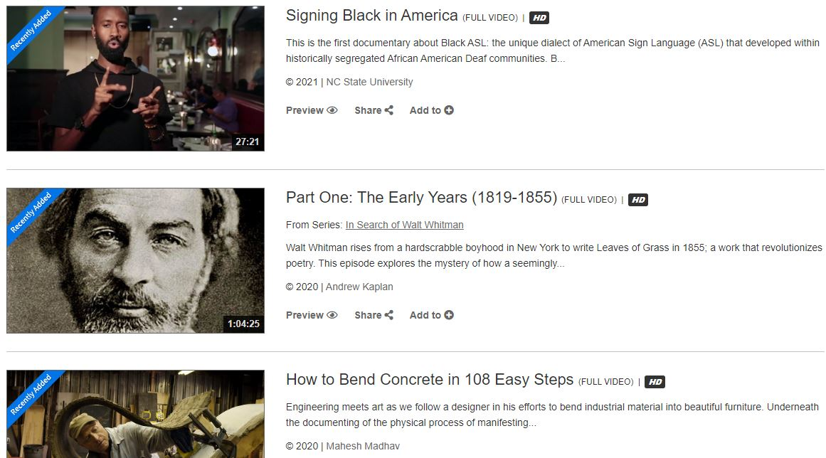 screen capture of Films on Demand's new titles page