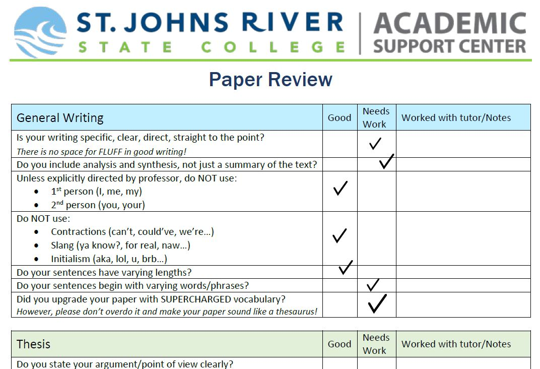 example of a completed paper review worksheet