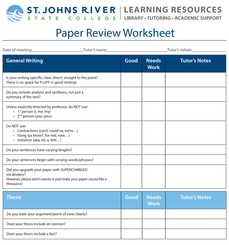 Thumbnail of the paper review worksheet