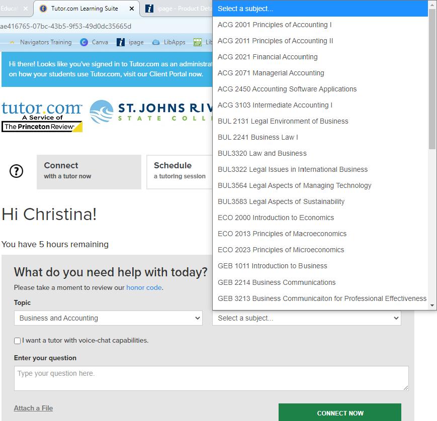 screen shot of tutor.com's landing page