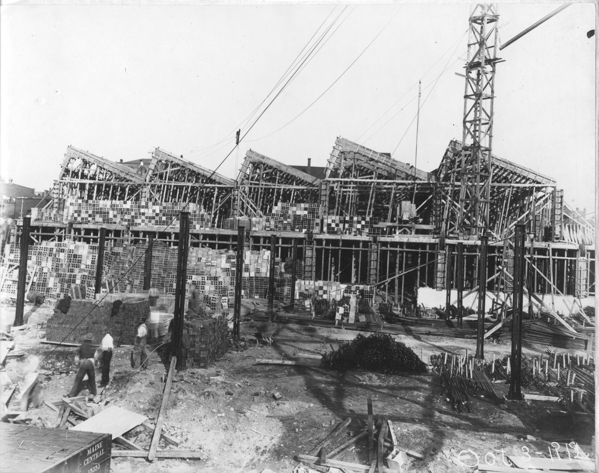 Construction of Bates Mill number 5 circa October 3rd 1912