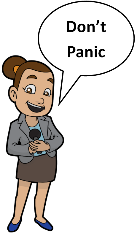 Cartoon woman saying don't panic.