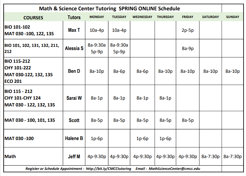 spring math science tutoring schedule image