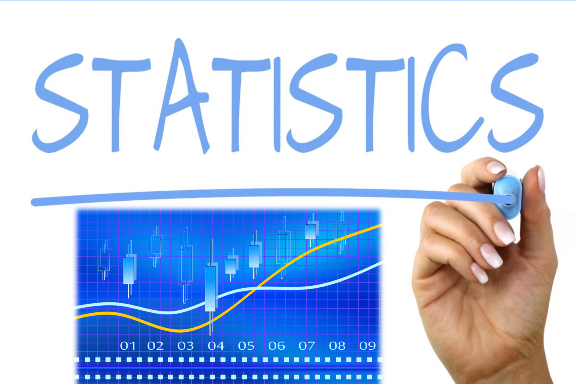 Hand written statistics in blue, with a blue line graph below