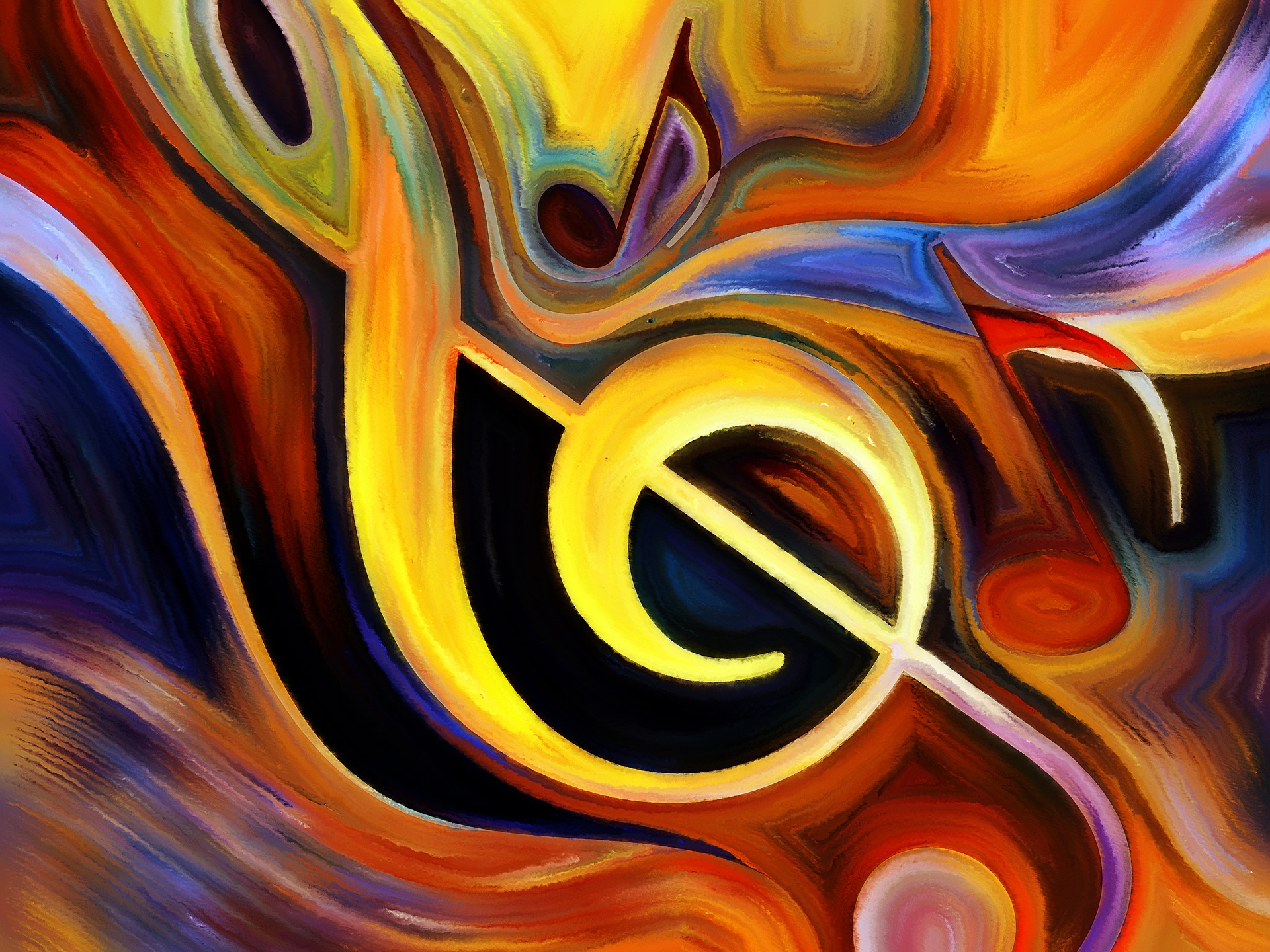 Music treble clef and notes painting