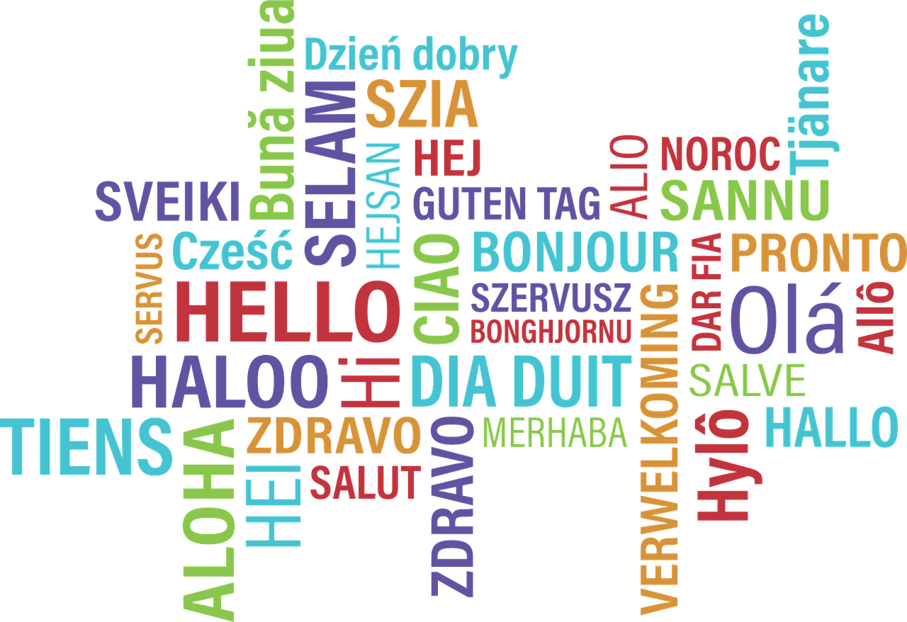 Hello word cloud in many languages