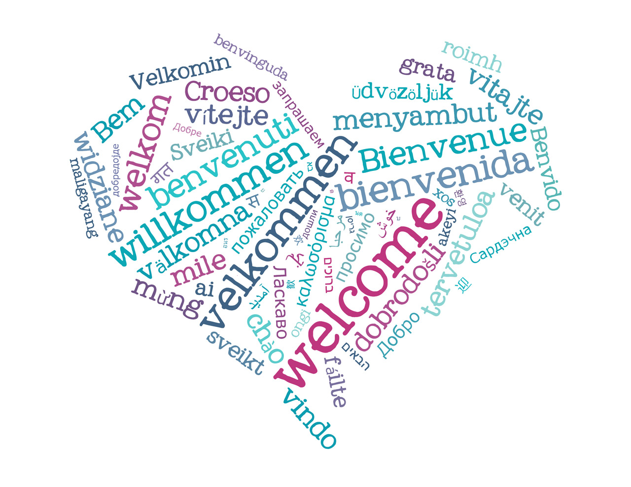 Welcome in many languages heart shaped word cloud