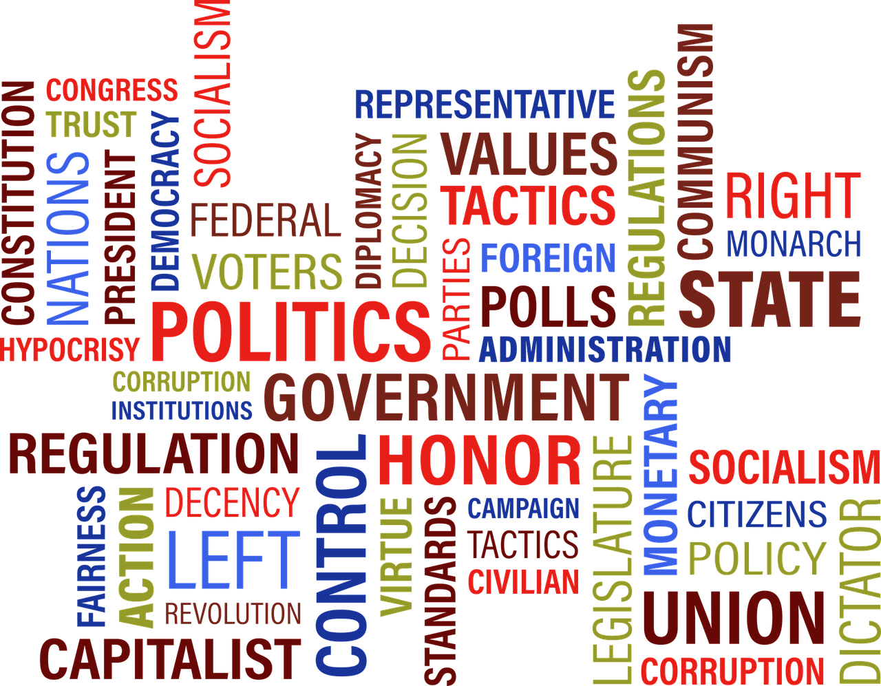 Politics and government word cloud.