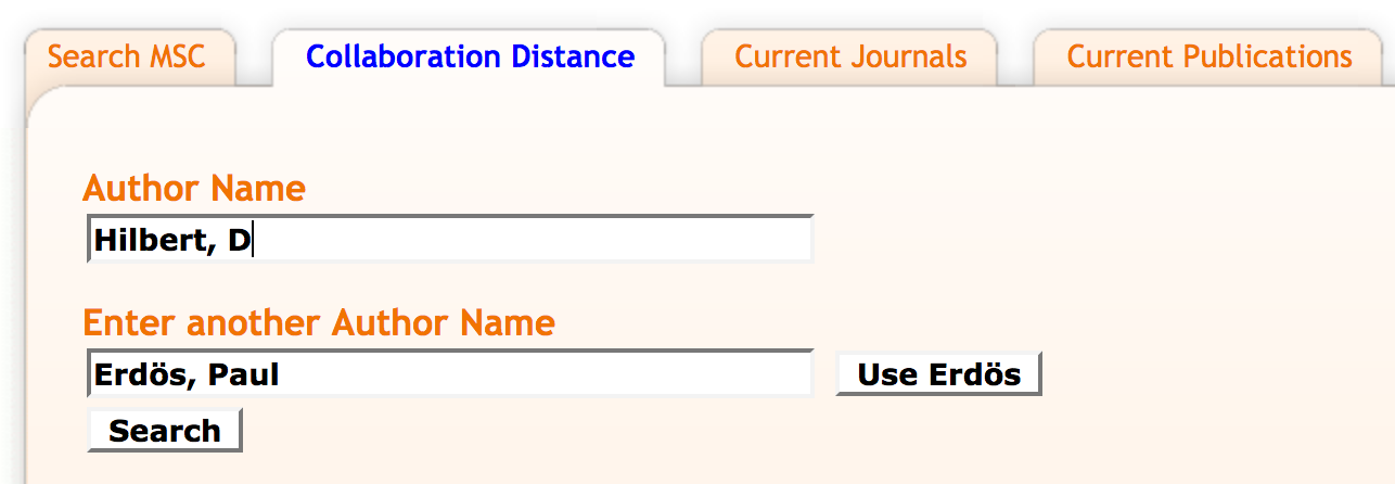 Mathscinet collabroation distance search with two author name search fields with Hilbert, D in one and Erdos, Paul in the one with a use Erdos button next to it. Finally there is a search button underneath