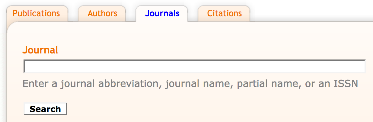 Mathscinet journal search with an empty search field and a search button below it