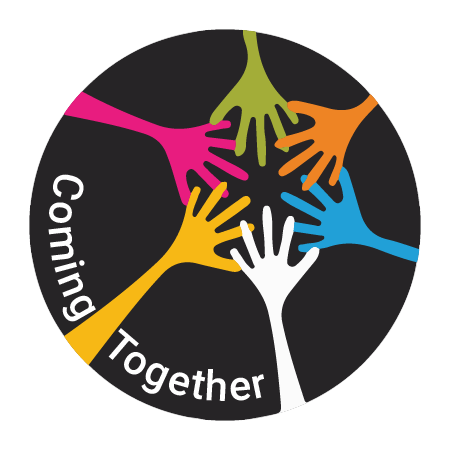 Circular logo for Coming Together; Five hands of different colors are touching