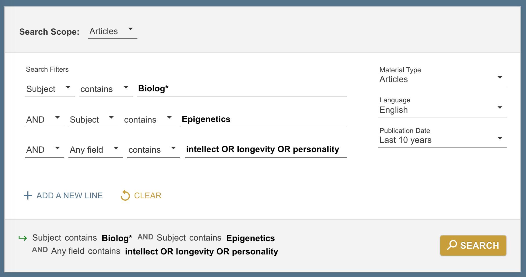 Advanced Primo Search - Subject: Epigenetics
