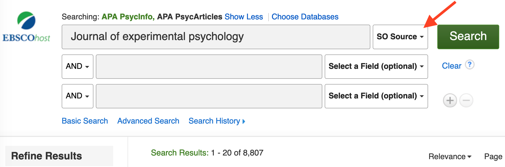 Search Journals in EBSCO