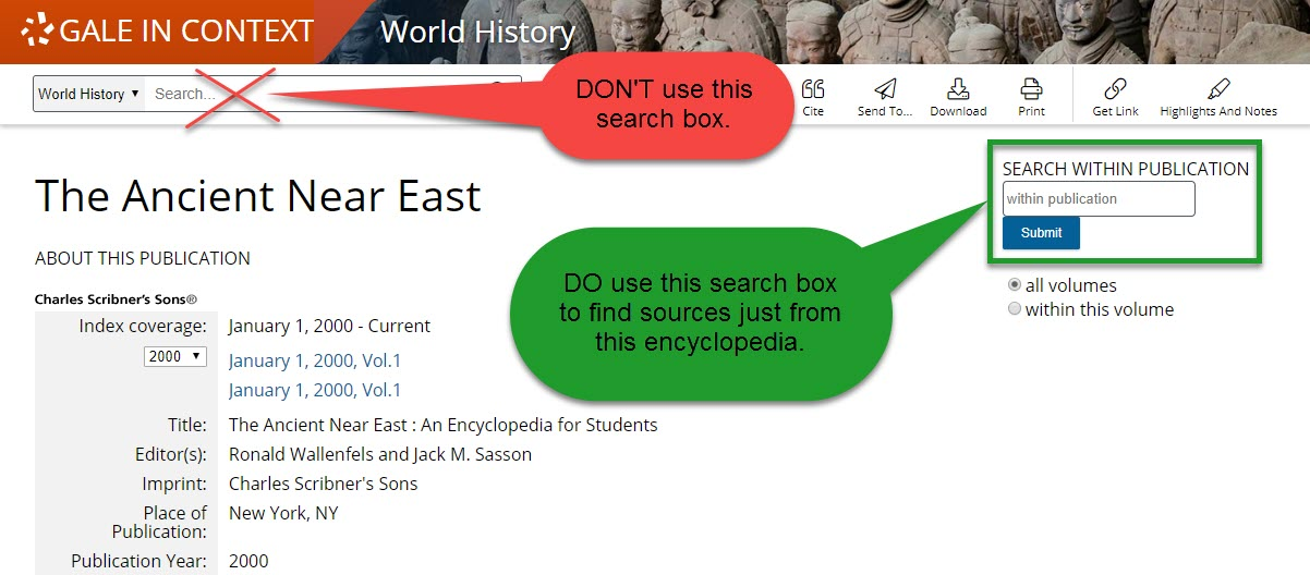 Ancient Near East search box