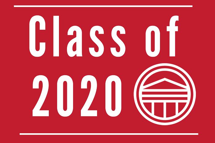 Class of 2020 text with white Rotunda logo