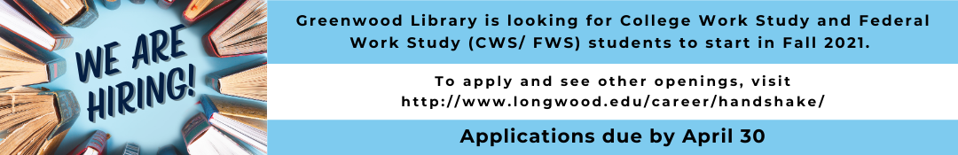 Greenwood Library is hiring!  Link to job application