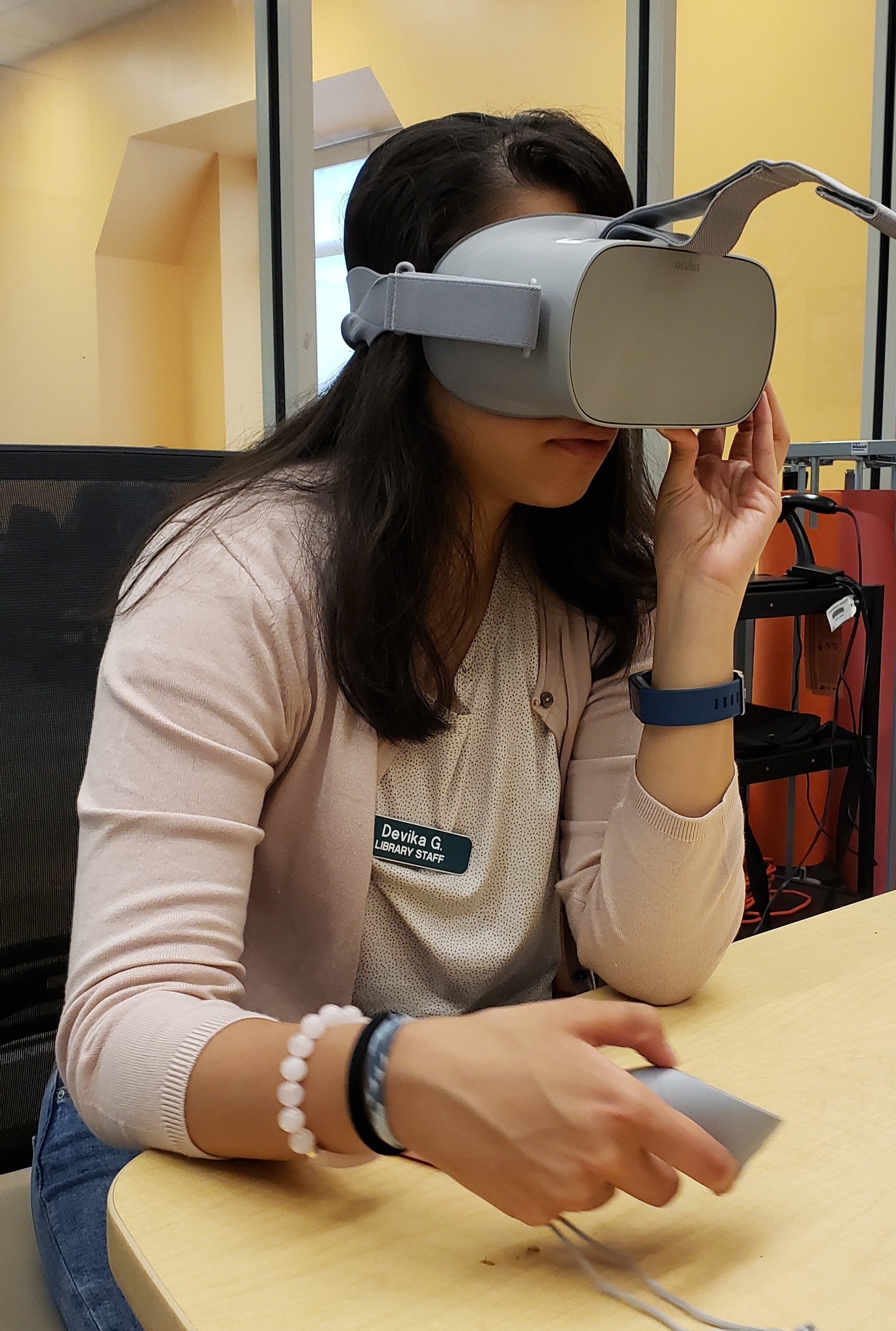 woman using Oculus Go virtual reality