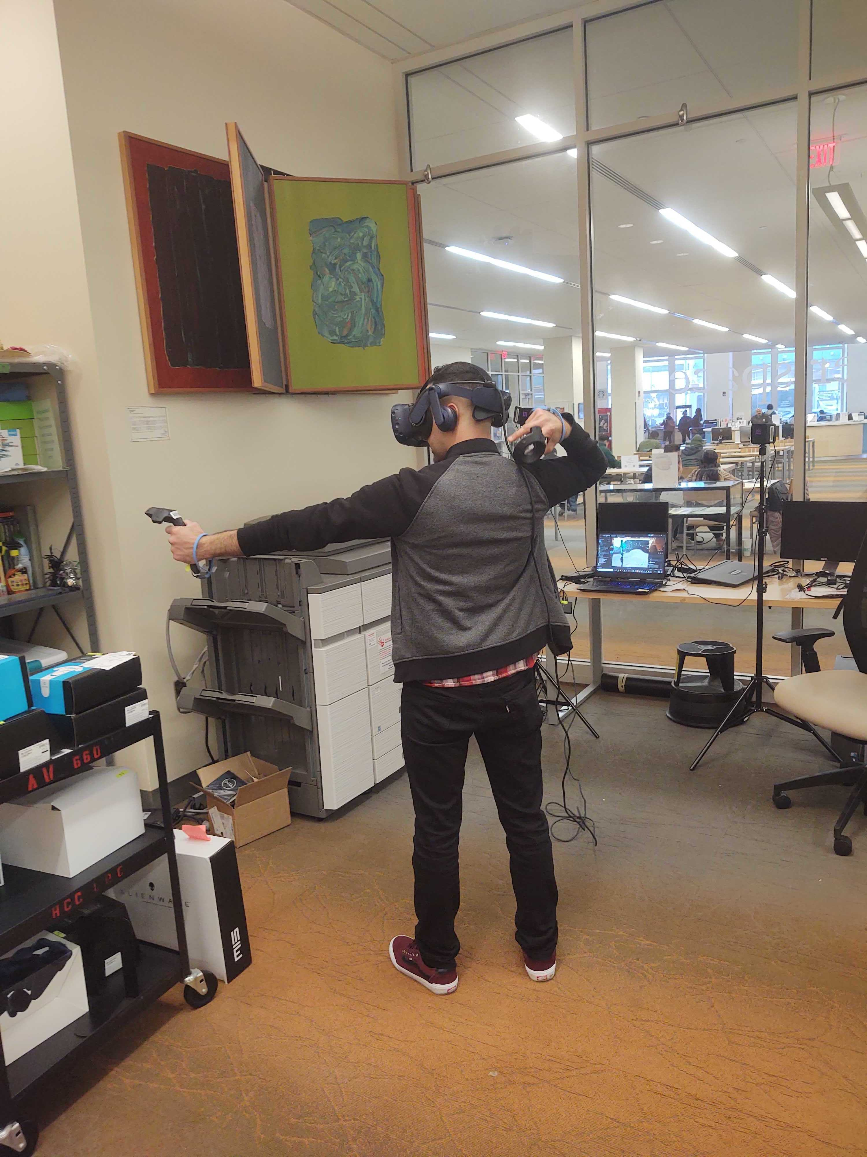 Staff playing VR games